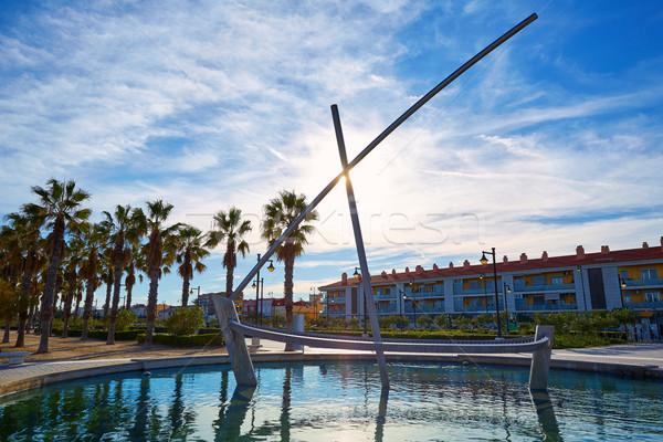 Valencia LA csónak szobor szökőkút Spanyolország Stock fotó © lunamarina