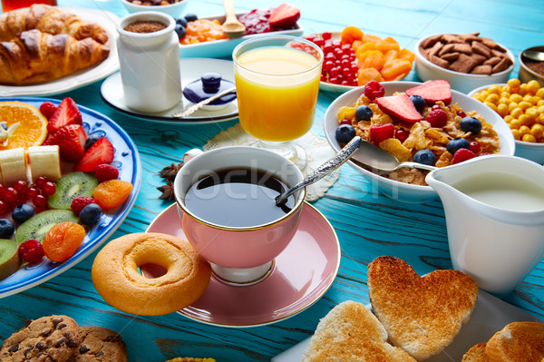Photo stock: Déjeuner · buffet · saine · continental · café · jus · d'orange