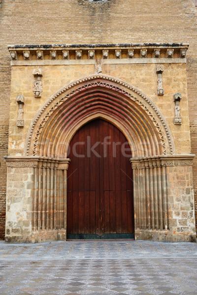 Santa Marina church door in Seville Spain Stock photo © lunamarina
