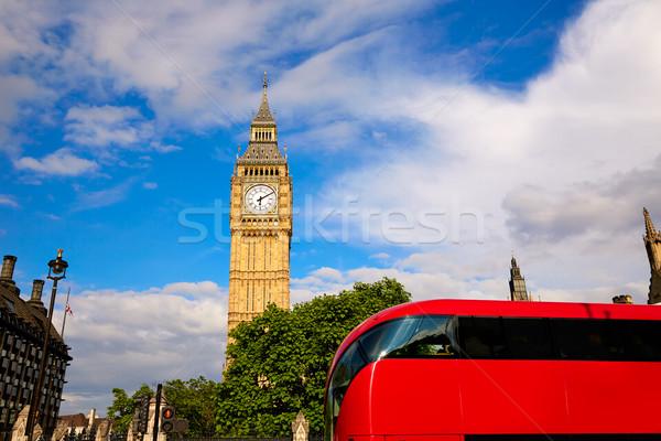 Big Ben saat kule Londra otobüs İngiltere Stok fotoğraf © lunamarina