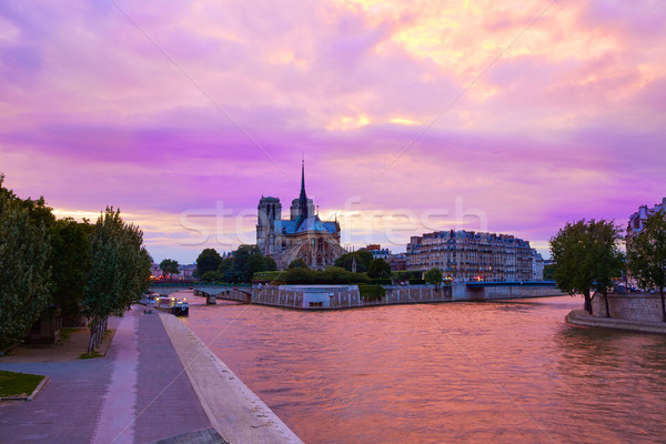 Notre Dame cathedral Paris sunset at Seine Stock photo © lunamarina