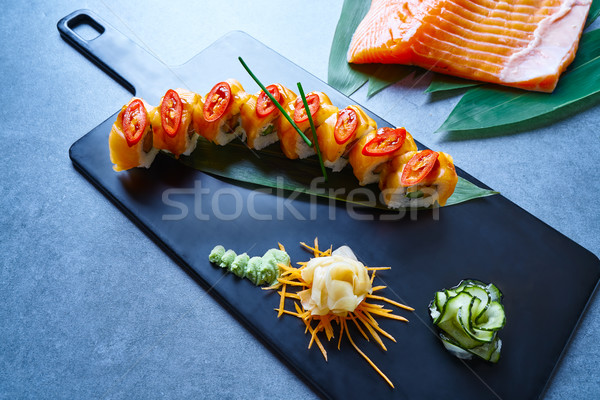 Rice Maki Sushi with salmon chili asparagus Stock photo © lunamarina