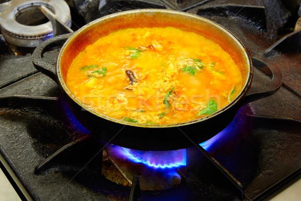 Tengeri hal főzés folyamat tintahal étel terv Stock fotó © lunamarina