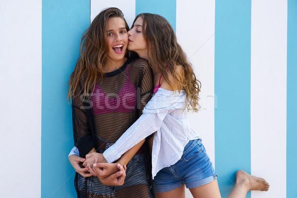 Best friends teen girls happy in summer beach Stock photo © lunamarina