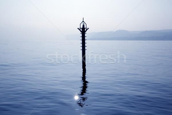 Háttérvilágítás jelzőtűz mediterrán kék tenger tükröződés Stock fotó © lunamarina