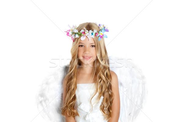 Stock foto: Engel · kleines · Mädchen · Flügel · Kinder · Blumen · Krone