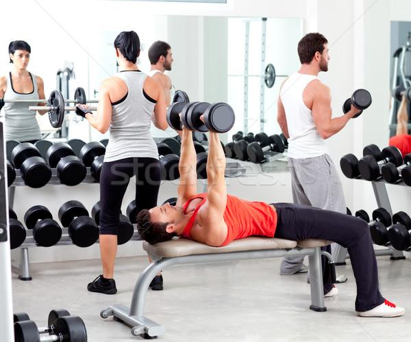 Сток-фото: группа · людей · спорт · фитнес · спортзал · оборудование