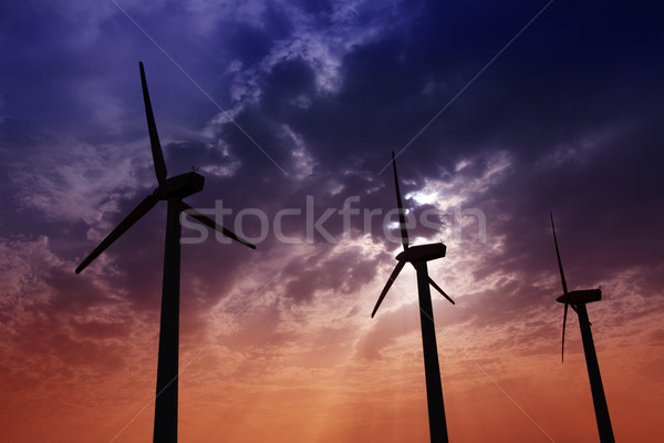 aerogenerator windmills on dramatic sunset sky Stock photo © lunamarina