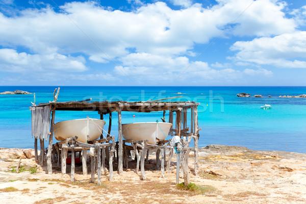 Beached boats in Formentera Els Pujols beach Stock photo © lunamarina