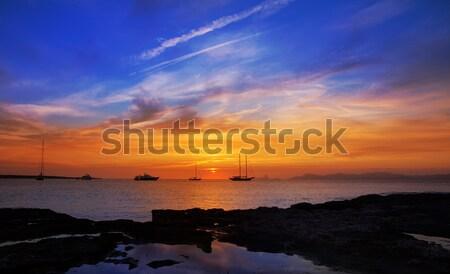 colorful sunset of Ibiza view from formentera Stock photo © lunamarina