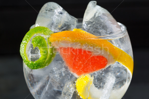 Stockfoto: Gin · cocktail · macro · lima · citroen · grapefruit
