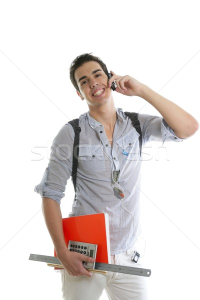 Handsome student talking mobile cell phone Stock photo © lunamarina