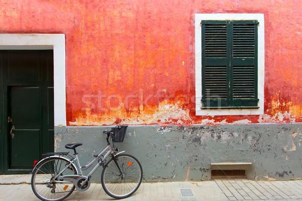 красный Гранж фасад текстуры велосипед город Сток-фото © lunamarina