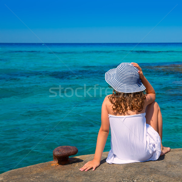 Girl looking at beach in Formentera turquoise Mediterranean Stock photo © lunamarina
