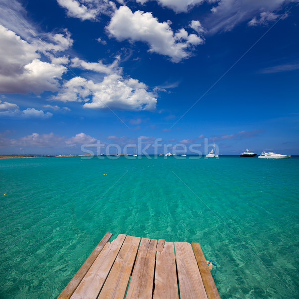 Formentera tropical Mediterranean sea wooden pier Stock photo © lunamarina