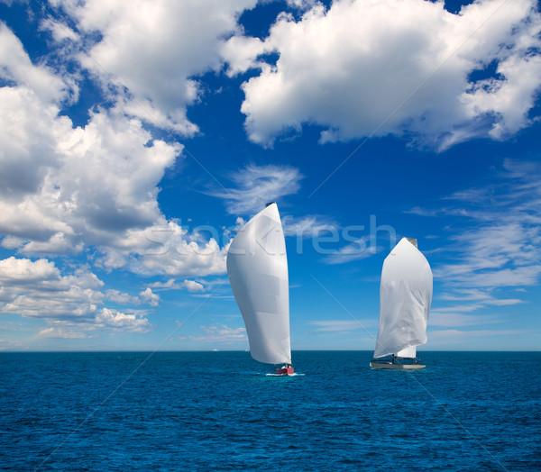 Zeilboten regatta zeilen middellandse zee zee water Stockfoto © lunamarina
