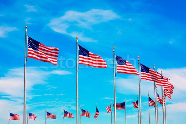 Washington-emlékmű zászlók kör USA Egyesült Államok város Stock fotó © lunamarina