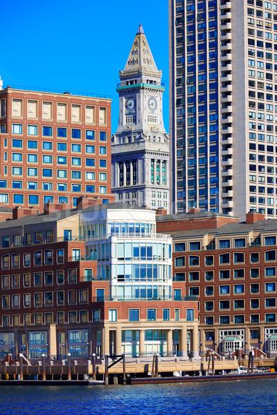 Boston saat kule ev liman Stok fotoğraf © lunamarina