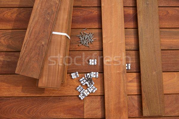 Deck legno installazione texture home retro Foto d'archivio © lunamarina