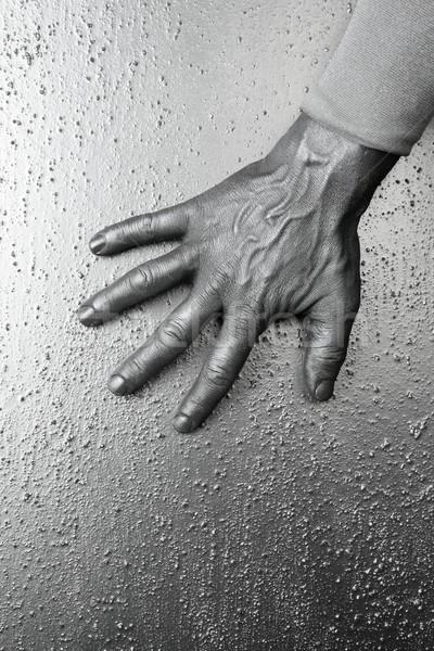 Futurisztikus férfi ezüst kéz mintázott acél Stock fotó © lunamarina