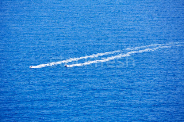 Blue sea ocean with watercrafts wake aerial Stock photo © lunamarina