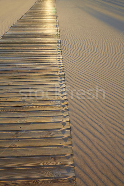 Stock photo: Beach wooden walkway and sand dunes texture