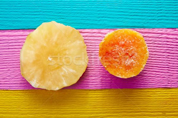 砂糖漬けの メキシコ料理 フルーツ パイナップル カラフル 表 ストックフォト © lunamarina