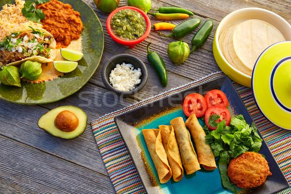 Mexicano tacos México alimentos ingredientes restaurante Foto stock © lunamarina