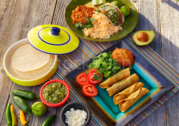 Mexican tacos Meksyk żywności składniki restauracji Zdjęcia stock © lunamarina