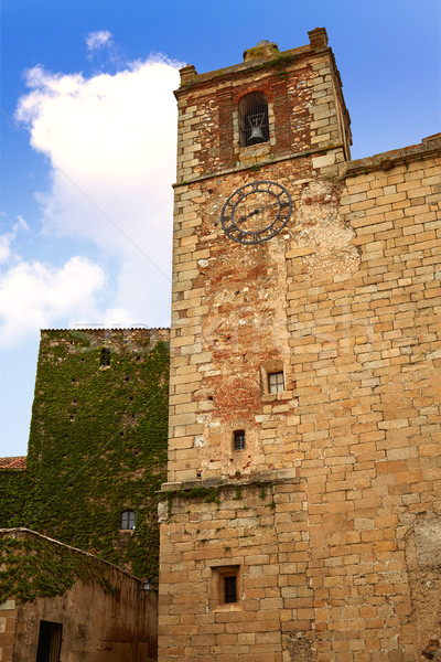Caceres Saint Mateo church and clock Spain Stock photo © lunamarina