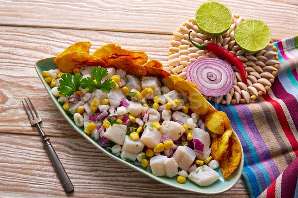 Ceviche peruvian recipe with fried banana Stock photo © lunamarina