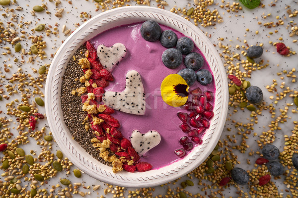 Acai bowl smoothie pitaya hearts blueberry goji Stock photo © lunamarina