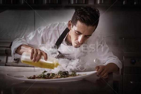 повар осьминога кухне дым рецепт нефть Сток-фото © lunamarina