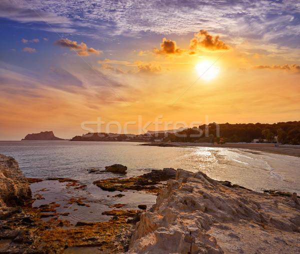 Ifach Penon view from Moraira beach in Alicante Stock photo © lunamarina
