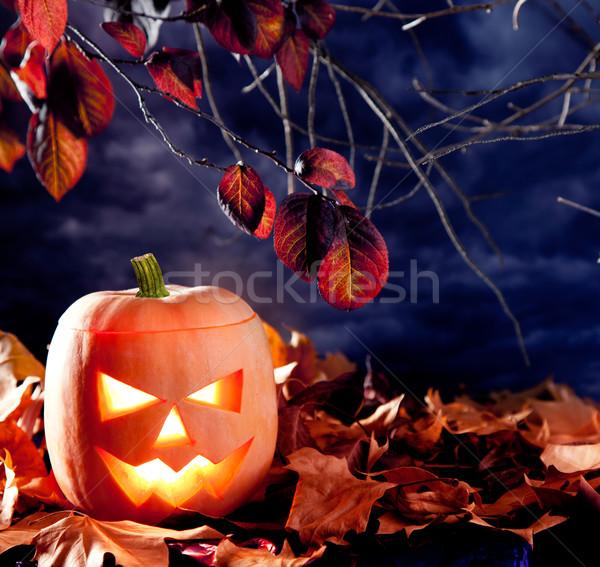 Halloween lanterne citrouille sombre ciel nuages Photo stock © lunamarina