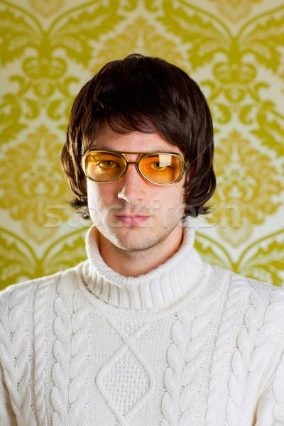 Retro férfi klasszikus szemüveg garbó pulóver Stock fotó © lunamarina