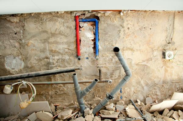 Stockfoto: Elektrische · sanitair · installatie · keuken · werk · keuken · interieur
