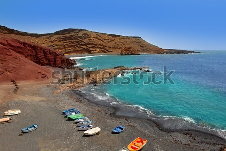 Lanzarote El Golfo Atlantic ocean boats Stock photo © lunamarina