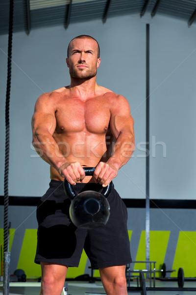 Foto stock: Crossfit · balançar · exercer · homem · exercício · fitness