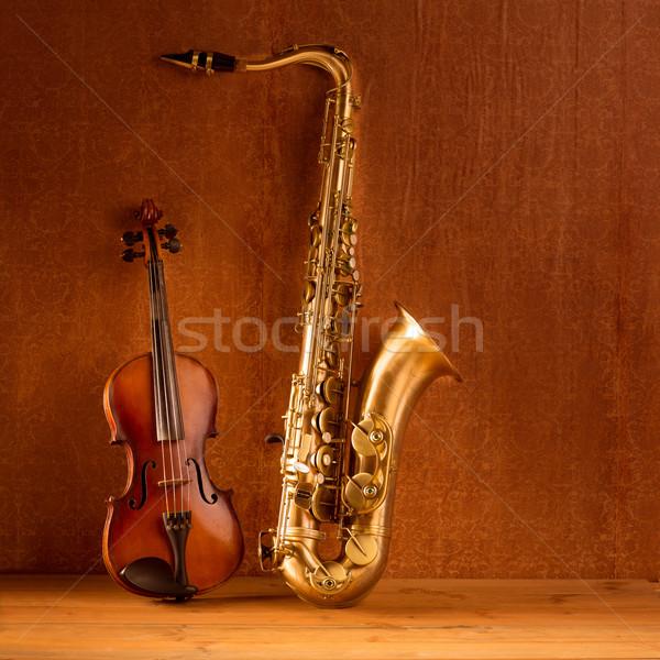 Classic music Sax tenor saxophone violin in vintage Stock photo © lunamarina