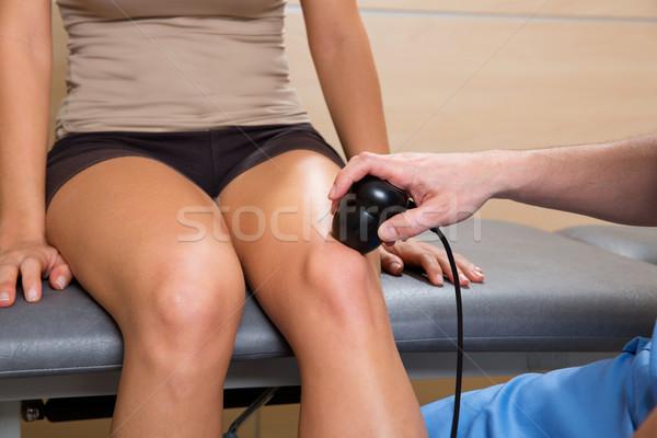 Ultrasonic therapy machine treatment doctor and woman Stock photo © lunamarina