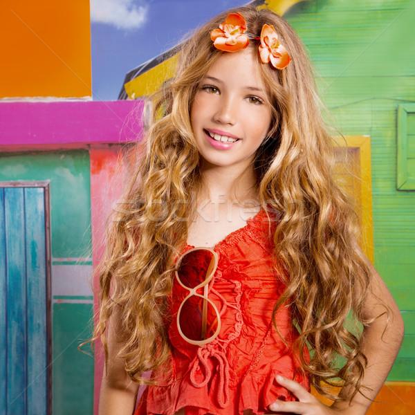 Photo stock: Blond · enfants · heureux · touristiques · fille · souriant
