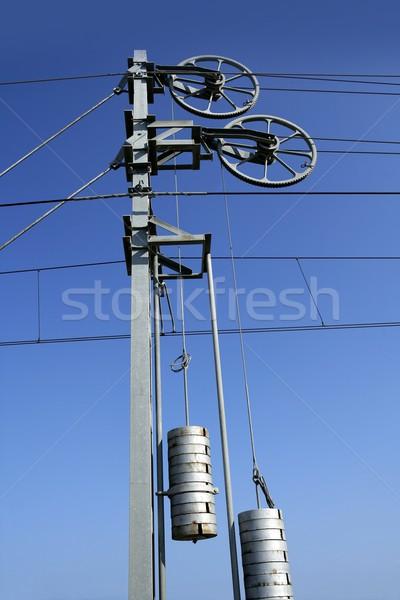 Stockfoto: Kabels · paal · toren · elektrische · trein · spoorweg