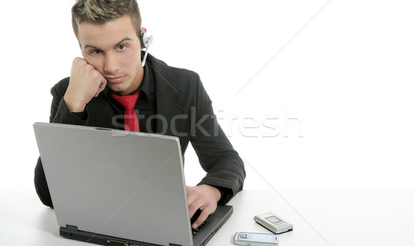 Stockfoto: Jonge · zakenman · laptop · microfoon · vervelen · internet