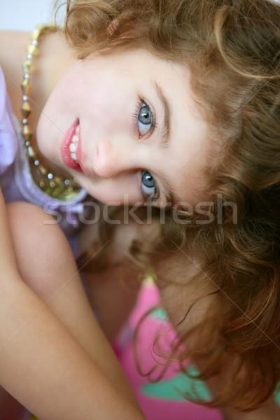 美しい 青い目 女の子 笑みを浮かべて ストックフォト © lunamarina
