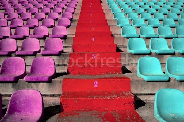 Stock photo: stadium colorful grandstand stands stairway