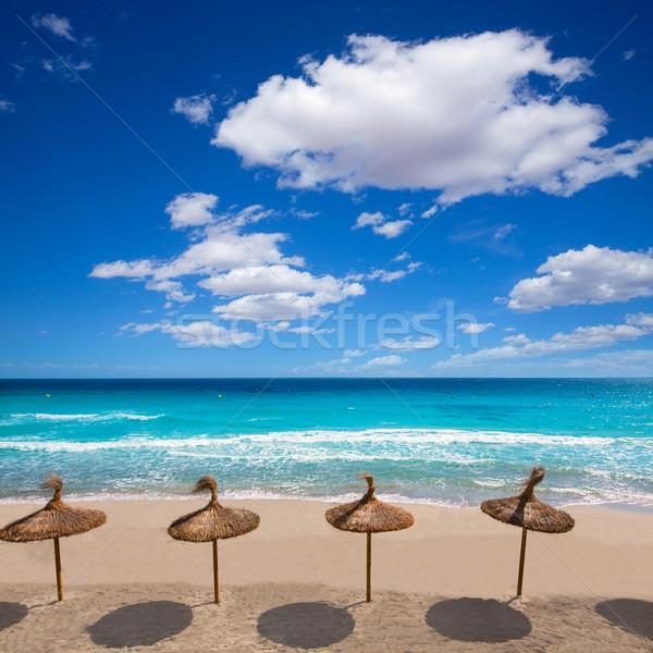 Menorca sunroof row tropical beach at Balearic islands Stock photo © lunamarina