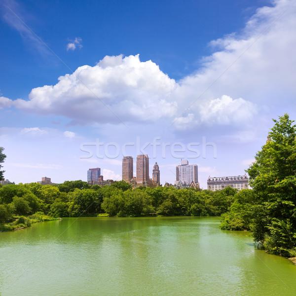 Central Park lago manhattan Nova Iorque céu cidade Foto stock © lunamarina