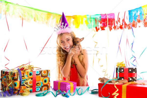 Party blond kid girl happy with puppy present Stock photo © lunamarina