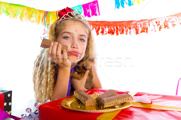 Bored gesture blond kid girl in party with puppy Stock photo © lunamarina
